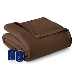 Chocolate Micro Flannel® Oversized Heated Electric Blanket